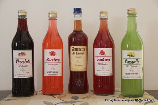 variedad de licores artesanales El sagitario