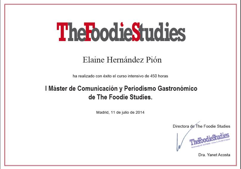 Diploma Master en comunicación y periodismo gastronómico