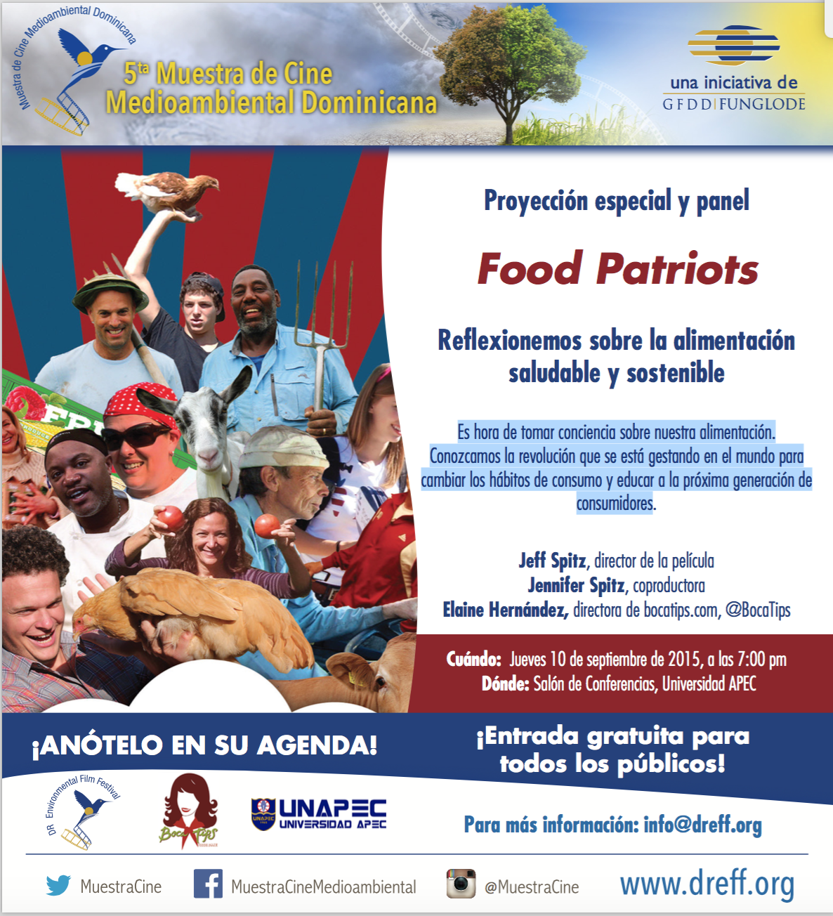 Food Patriots y panel sobre alimentación saludable y sostenible.